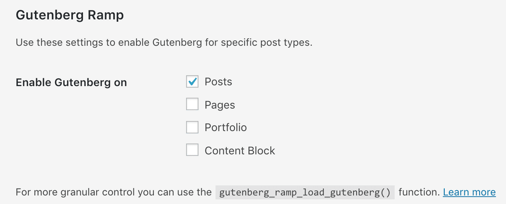 Gutenberg Ramp Options