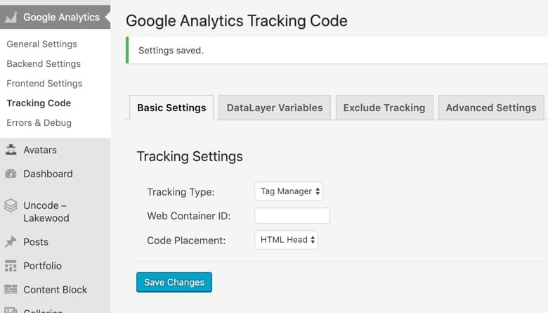 Tracking Code ‹ Lakewood — Word Press