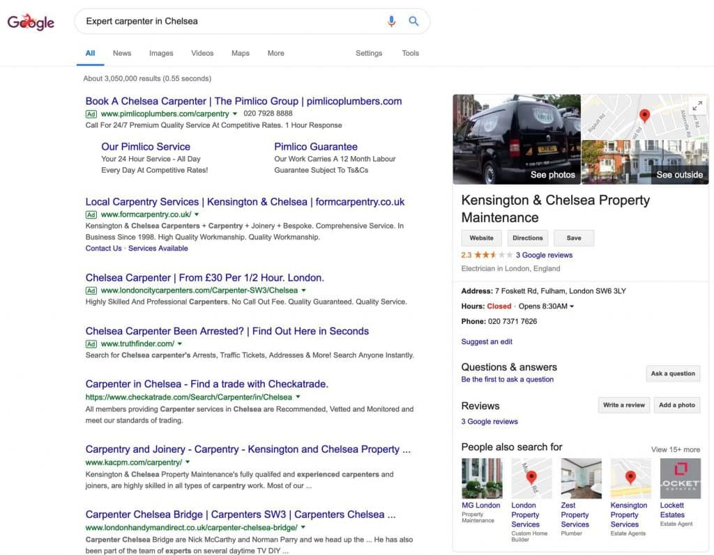 Google My Business Search Result in London